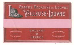 étiquette - SAVONS BOUGIE Pur Saponification BOUGIE La VEILLEUSE Du LOUVRE - Grands Magasins Du Louvre  - PARIS - - Whisky