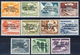 Svizzera BIT 1950 Serie N. 316-326 Sovrastampati MNH**LUX Cat. € 180 - Servizio