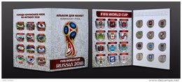 Russia, 2016 World Cup 2018 Football Host Cities Colored 12 Coins X 1 Rbl Album - Russia