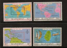 ST.VINCENT SG651/4 1980 ST.VINCENT ON THE MAP MNH