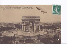 """2 Cpa  Asnières """"Clément-Bayard"""" + Tramway Et Paris """"La République"""" Passant Au-dessus De L'Arc De Triomphe - Dirigeables"""