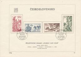 Czechoslovakia / First Day Sheet (1956/11) Praha 3 (c): Crops Our Country - Grapevine, Fishing, Woodworking, Hops
