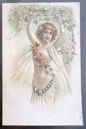 Litho Relief Aquarelle Art Nouveau Precurseur ILLUSTRATEUR 714 Femme Fille Voile Debout Tenant Branche Cerisier Fleurs - Illustrateurs & Photographes