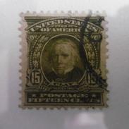 TIMBRE  ETATS  UNIS  D AMERIQUE   1902.03   DENTELE 12  15C  VERT  OLIVE  OBLITERE - Etats-Unis