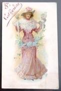 Litho Chromo Couleur Art Nouveau Precurseur ILLUSTRATEUR  Femme Fille Elegante Chapeau Debout Tenant Voile De Fleurs - Illustrateurs & Photographes