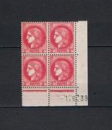 Coin Daté Du 1-6-39 - Typographiés - Y&T N° 373**- Cérès - Rouge - 2fr - TB - Voir Photos -