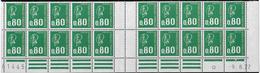 Bas De Feuille De 20 0,80F Vert Typo Béquet Presse 6 9.8.77 I+D 2ème Tirage Pho Et GT