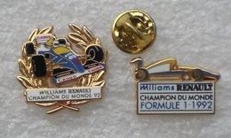 WILLIAMS RENAULT CHAMPION DU MOND 1992 ARTHUS BERTRAND 2 PIN'S          AAAA  030 - Renault