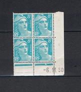 Coin Daté Du 6-11-50 - Typographiés - Y&T N° 810**- Marianne De Gandon - Bleu Turquoise - 8fr - TB - Voir Photos -