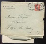 M27 :  SEMEUSE 10 C SUR LETTRE AVEC CORRESPONDANCE CAD DAGUIN ROUEN 1913 - Postmark Collection (Covers)