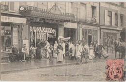 CPA 75 PARIS XII Un Coin Du Cours De Vincennes Commerces Boucherie Maison RABEUX BOISANFRAY Animation 1905 - Arrondissement: 12
