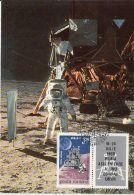 SPACE, COSMOS, APOLLO 11 MISSION, MAN ON MOON, CM, MAXICARD, CARTES MAXIMUM, OBLIT FDC, 1969, ROMANIA - Lettres & Documents