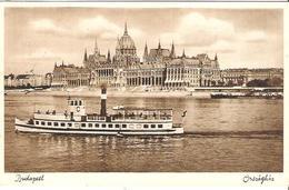 Budapest - Parlament & Donau-Dampfer Mit Michel-Nr. 491 O BUDAPEST 1937 AUG 3 - Piroscafi