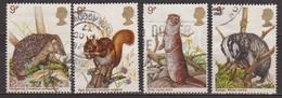 Faune, Animaux Sauvages - GRANDE BRETAGNE - 1977 - Hérisson, Ecureuil, Loutre, Blaireau - Usati