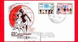 ITALIA - 1971 - FDC - Filagrano - UNICEF - Raccomandata - Viaggiata Da Roma A Pescara - 6. 1946-.. Republic
