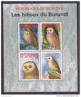 X] Feuillet Sheet ** Oiseau De Proie Bird Of Prey Rapace Hibou Owl Burundi 2009