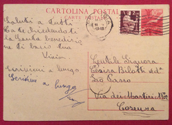 INTERO POSTALE L. 10 CON AGGIUNTA L.2 DA PERUGIA  A COSENZA IN DATA 18/10/48 - 6. 1946-.. Repubblica