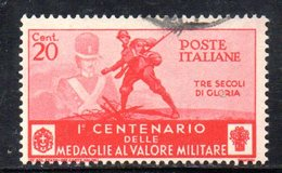 T2239 - REGNO 1934, Sassone N. 368 Usato Medaglie Al Valore - 1900-44 Vittorio Emanuele III