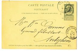 1894 CARTE POSTALE TYPE OBP56 VAN VICHTE NAAR AVELGHEM AANKOMSTSTEMPEL - Entiers Postaux