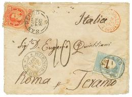 1875 ARGENTINA 5c Canc. SAN PEDRO + ITALY POSTAGE DUE 1L Canc. TERANO On Envelope. Vf.