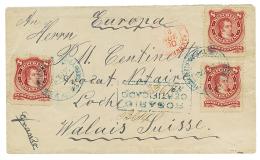 1890 ARGENTINA 8c(x3) On REGISTERED Envelope From ROSARIO To LOCHE SWITZERLAND. Vf.