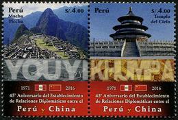 Peru (2016) - Set -  /  World Heritage - Machu Pichu -  China Diplomatic Relations