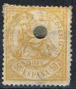 Sello 50 Pts Alegoria Justicia 1874, Perforado Telegrafico, Edifil Num 149T º - 1873-74 Regencia
