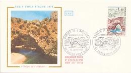 France FDC , 12 Juin 1971 Vallon Pont D'Arc Serie Touristique 1971 Gorges De L'Ardeche - 1970-1979