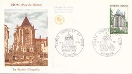 France FDC , 19 Juin 1971 Riom La Sainte Chapelle - 1970-1979