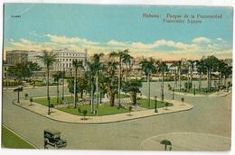 CARTOLINA HABANA PARQUE DE LA FRATERNIDAD FRATERNITY SQUARE VIAGGIATA 1 CORREOS REPUBBLICA DE CUBA ANNO 1935 - Cartoline