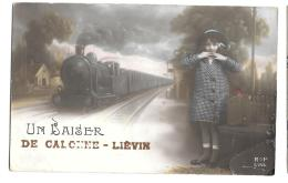 CPA.. CALONNE LIEVIN.....UN BAISER DE CALONNE LIEVIN... CACHET AU DOS DEPOTS DES ECLOPES ..GUERRE DE 1914. - Non Classés