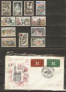 France -1963 - Petit Lot De 12 Timbres ° Et  1 Enveloppe FDC Europa  - Hommes Célèbres - Ski Nautique - Tourisme - Kilowaar (max. 999 Zegels)