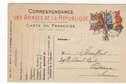 Carte Correspondance Des Armées De La République, Franchise, Drapeaux, Cachet,Stern Graveur, Militaire, Guerre, - Oorlog 1914-18
