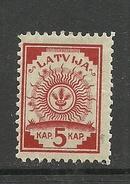 LETTLAND Latvia 1920 Michel 46 B (zinnober) * - Lettonie