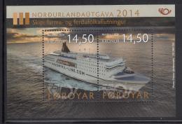 Faroe Islands MNH 2014 Souvenir Sheet Of 2 Passenger Ferry - Nordic Issue