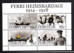 Faroe Islands MNH 2014 Souvenir Sheet Of 4 First World War