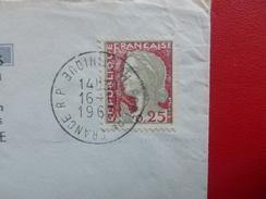 TIMBRE MARIANNE DECARIS VARIETE LETTRE CACHET FORT DE FRANCE MARTINIQUE - Curiosidades: 1960-69 Cartas