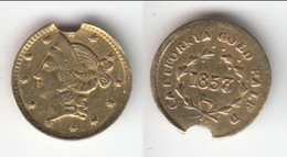** USA - UNITED-STATES - CALIFORNIA - ROUND HALF DOLLAR 1853 - 1/2 DOLLAR 1853 - LIBERTY HEAD - GOLD  (LIRE NOTA) ** - Pre-federal Issues