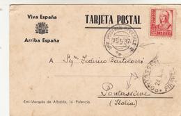 Guerra Di Spagna,Valladolid To Pontassieve. Targhetta Postale Con Timbro Uff.Postale Speciale+Pontassieve  15/05/1937 - Emissioni Nazionaliste