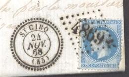 LOT ET GARONNE 47 SAINT CIRQ  LAC écrite à Colayrac TAD Type 22 Du 24/11/1868  GC 4869 Sur N° 29 (def) SUP - Postmark Collection (Covers)