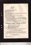 MERXEM RUMPST Ferdinand De WITTE Ancien Chancelier Consulat à FOLKSTONE 1866-1932 Famille De L'ARBRE BRASSEUR CLAES - Décès