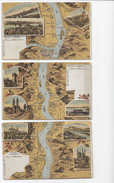 Gruss V. Rhein 1906  3 Lithos Nrs VII,VIII,IX - Autres