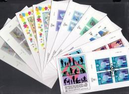 UNO Wien, 10 FDC Mit 4erBlock, 160-161, 166-169, 174-177, Einzelmarken 1994 Komplett - FDC