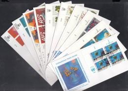 UNO Wien, 10 FDC Mit 4erBlock, 98-107, Einzelmarken 1990 Komplett - FDC