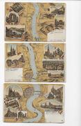 Gruss V. Rhein 1906  3 Lithos Nrs X,XI,XII - Autres