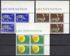 LIECHTENSTEIN 536-538, 4erBlock, Postfrisch **, Neueröffnung Landesmuseum 1971