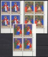 LIECHTENSTEIN 788-790, 4erBlocks Eckrand, Postfrisch **, Weihnachten 1981