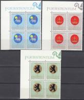 LIECHTENSTEIN 533-535, 4erBlocks Eckrand, Postfrisch **, Wappen Geistlicher Patronatsherren, 1970
