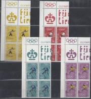 LIECHTENSTEIN 551-554, 4erBlock Eckrand, Postfrisch **, Olympische Winterspiele 1972 Sapporo