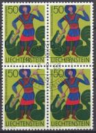 LIECHTENSTEIN 489, 4erBlock, Gestempelt, Kirchenpatrone 1967
